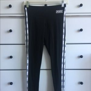 Black leggings with White stripe on side from pink